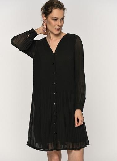 Loves You Piliseli Astarlı Şifon Elbise Siyah